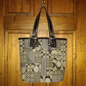 Coach Soho Patchwork Canvas With Leather Tote Bag